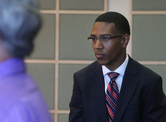 Dante Martin waits for jury selection Monday, Oct. 27, 2014, as he stands trial in Orange County, Fla. Martin is one of four members of Florida A&M University's marching band charged with manslaughter and felony hazing in the death of Robert Champion.
