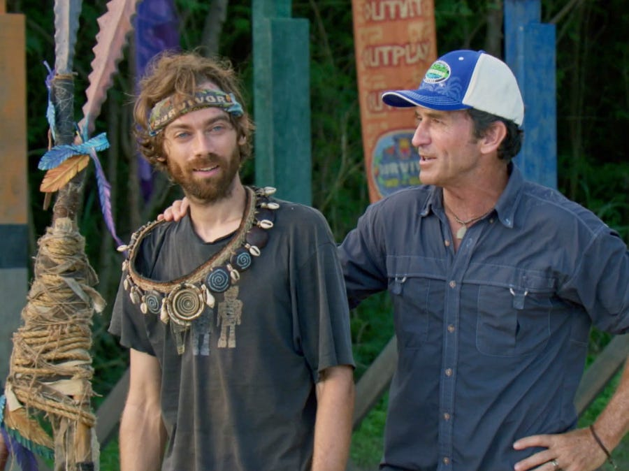 """Survivor"" episode 10:  FAMU/FSU robotics professor Christian Hubicki wins individual immunity, and is awarded the immunity necklace by host Jeff Probst."