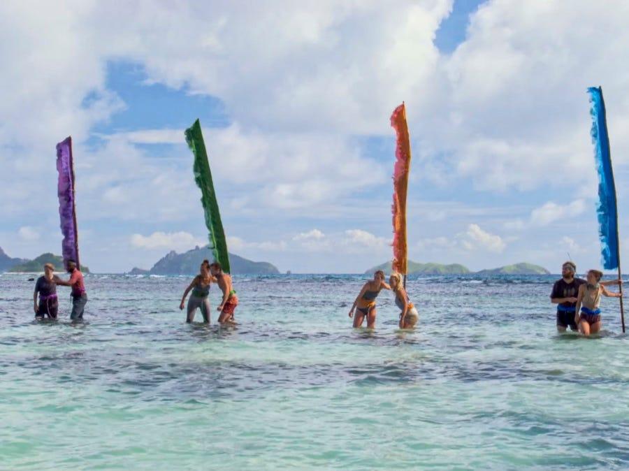 """Survivor"" episode 12: Contestants compete in a challenge."