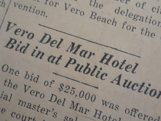 Del Mar Hotel sold at public aution in 1929.