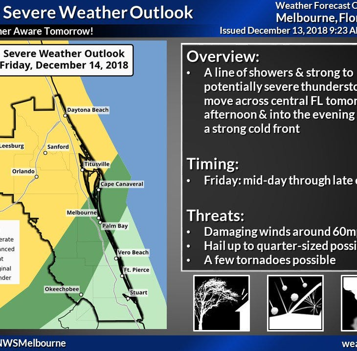 Thunderstorms, hail, tornadoes possible Friday in Treasure Coast, meteorologists forecast