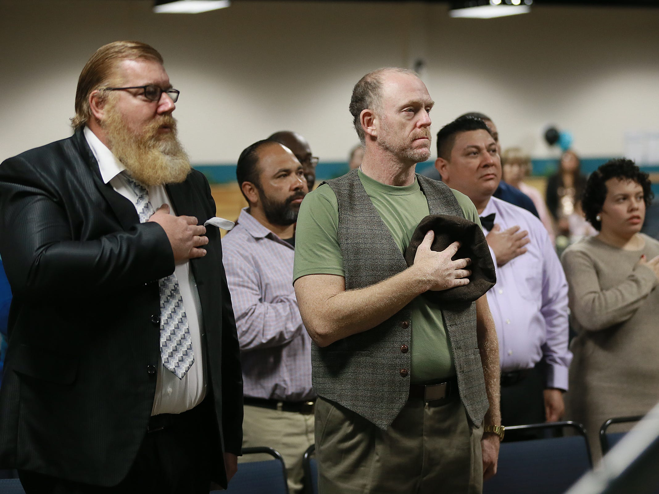 The El Paso Community College Veteran Resource Center hosted a pre-commencement ceremony Wednesday. Veterans who are graduating from EPCC received a challenge coin and a red, white and blue cord to wear on graduation day. About 43 of the 90 veterans graduating this semester participated in the event at the EPCC Services Center.