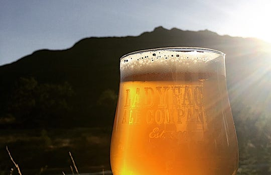 A glass of beer is seen at what opened in 2009 as Ladyface Alehouse & Brasserie in Agoura Hills.