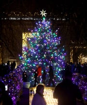 People admire the lights on the tree at Grand Holiday Illumination at Untermyer Gardens in Yonkers on Dec. 12, 2018.