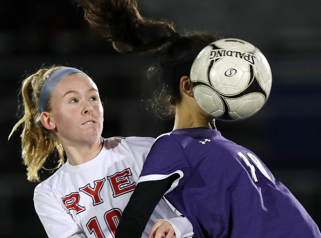 John Jay's Adeline Angelino (18) controls the ball against Rye during girls soccer playoffs at John Jay High School in Cross River Oct. 25, 2018. John Jay won the game 2-1 in overtime.