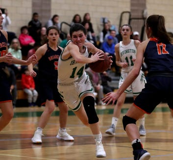 Mia Mascone of Irvington drives during a varsity basketball game against Briarcliff at Irvington High School Dec. 12, 2018. Briarcliff defeated Irvington 52-43.