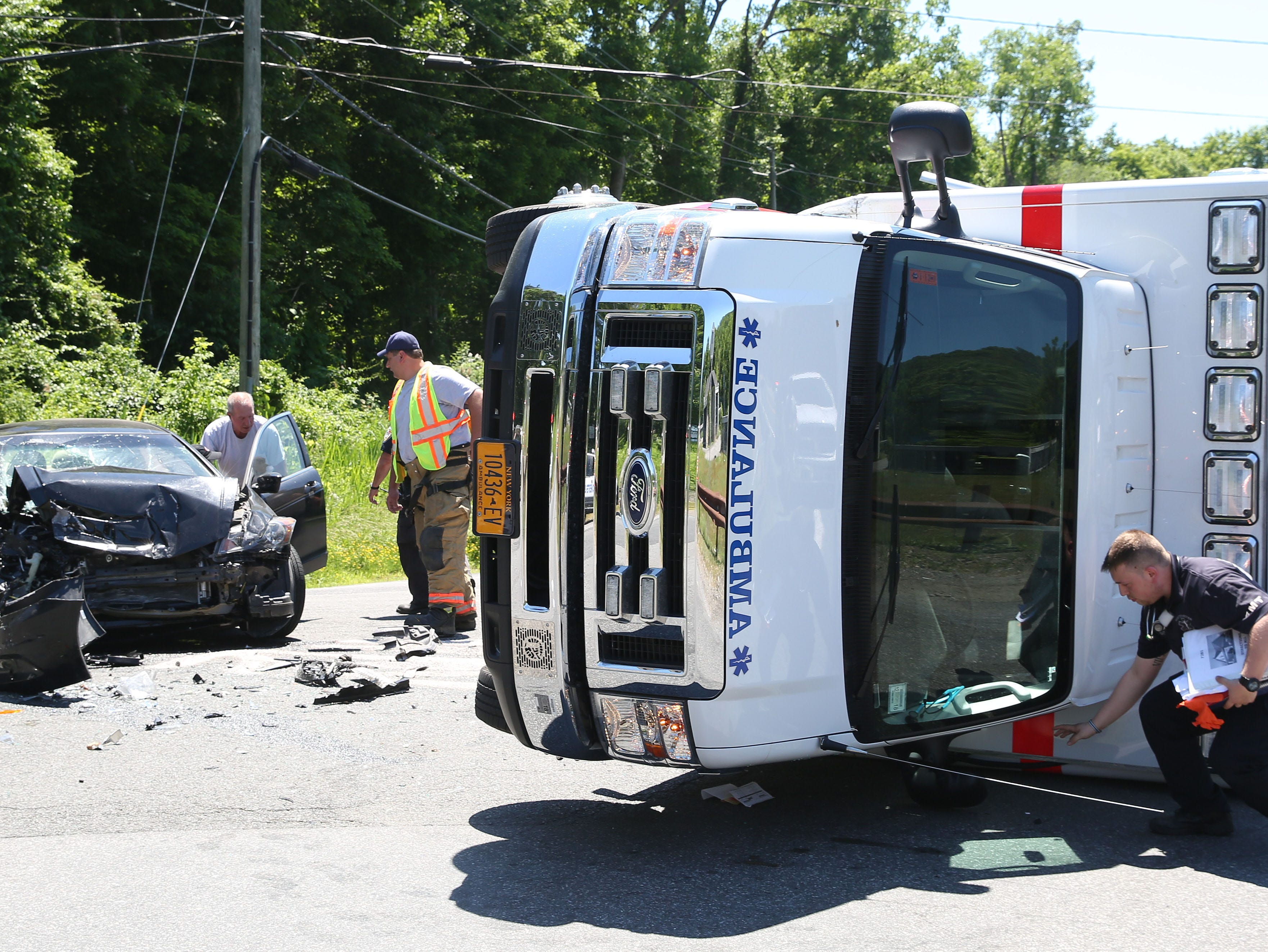 A North Salem ambulance collided with another vehicle at the intersection of Hardscrabble Road and Daniel Road in North Salem June 17, 2018. A total of three people suffered minor injuries.