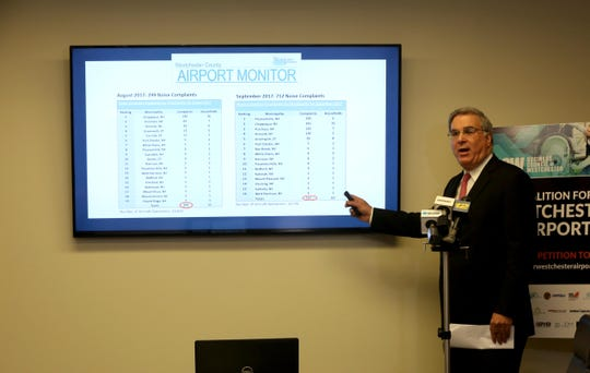 John Ravitz, chief operating officer of the Business Council of Westchester, announces the results of council's Coalition for Westchester County Airport report on noise complaints at the airport Dec. 13, 2018. The report showed that a handful of households near the airport accounted for the majority of noise complaints.