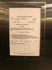 An Inspection notice in an elevator at New Roc City in New Rochelle Dec. 12, 2018.