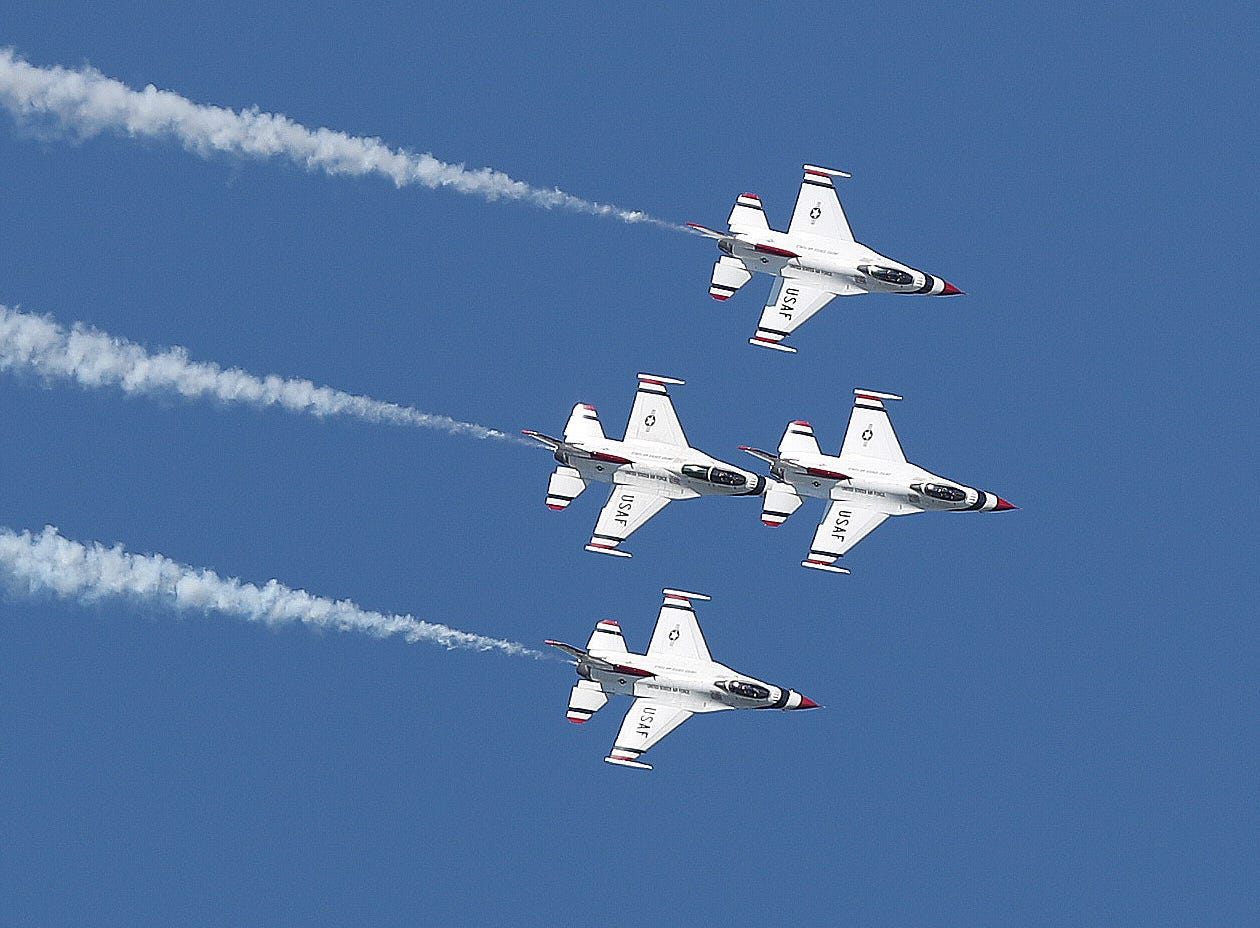 The United States Air Force Thunderbirds entertain the crowds at the annual New York Air Show at Stewart Airport in Newburgh  Sept. 16, 2018.
