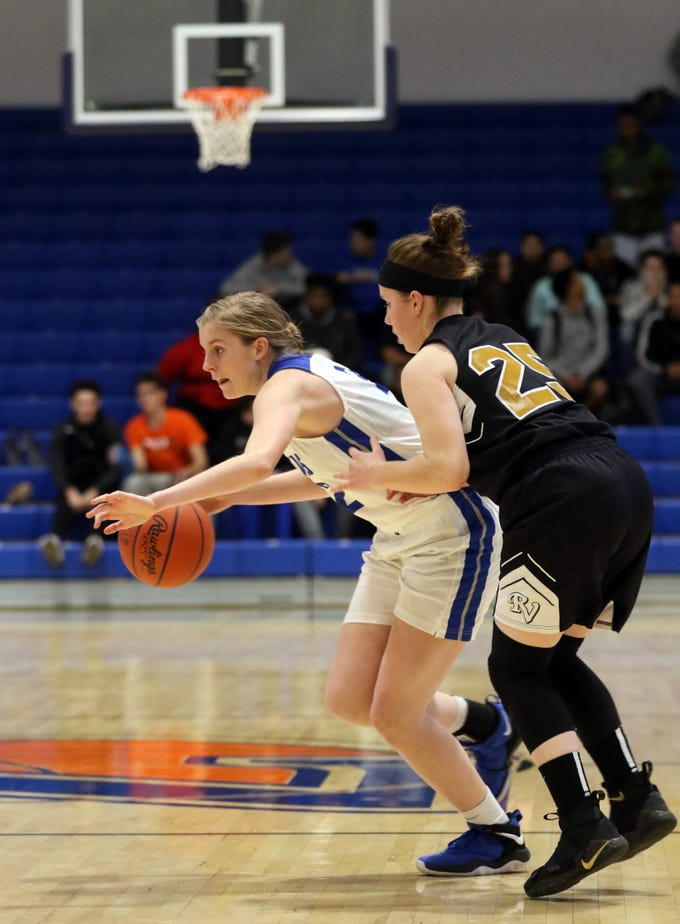 Zanesville's Madison Winland brings the ball down the floor against River View.