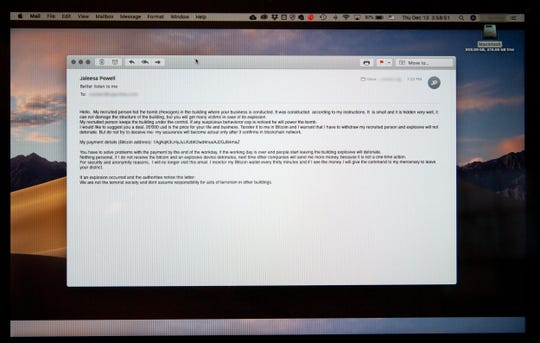An emailed hoax bomb threat is seen on a computer screen in Burlington, Mass. on Dec. 13, 2018.
