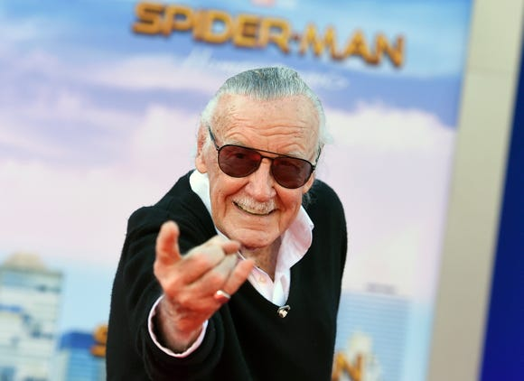 "Stan Lee, seen here at the premiere of ""Spider-Man: Homecoming,"" has a poignant cameo in the new ""Spider-Man: Into the Spider-Verse."""