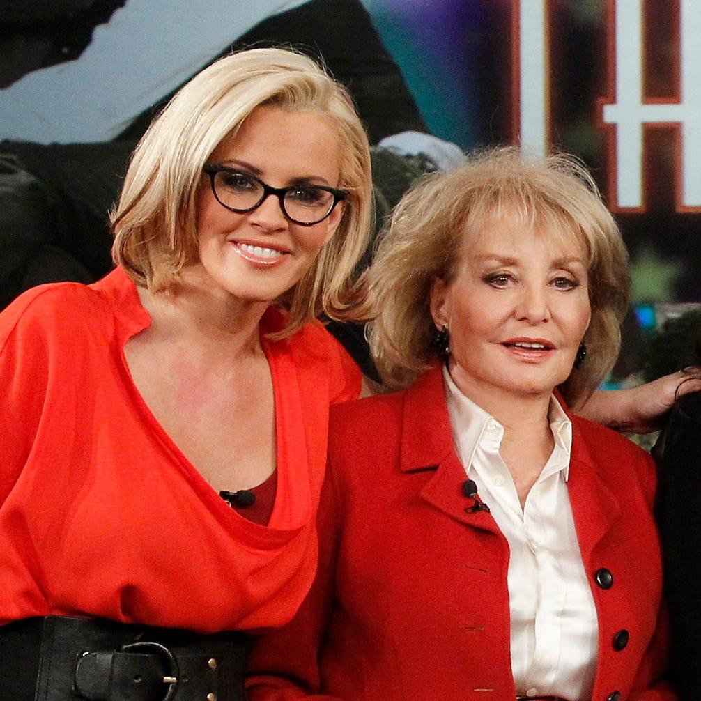 Jenny McCarthy, left, Barbara Walters, Rsie...