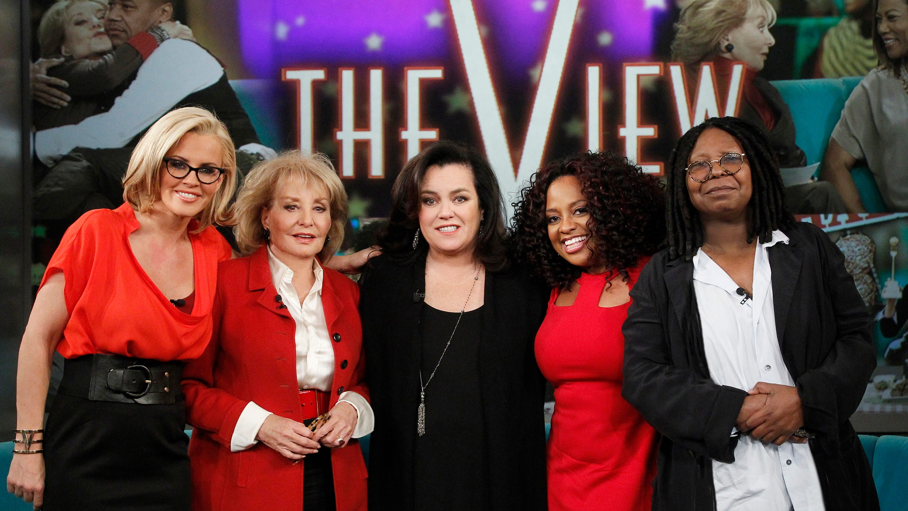 """Jenny McCarthy, left, Barbara Walters, Rsie O'Donnell, Sherri Shepherd and Whoopi Goldberg on the set of the television talk show """"The View."""""""