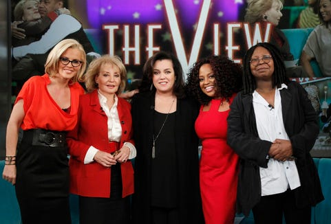 """Jenny McCarthy, left, Barbara Walters, Rosie O'Donnell, Sherri Shepherd and Whoopi Goldberg on the set of the television talk show """"The View."""""""