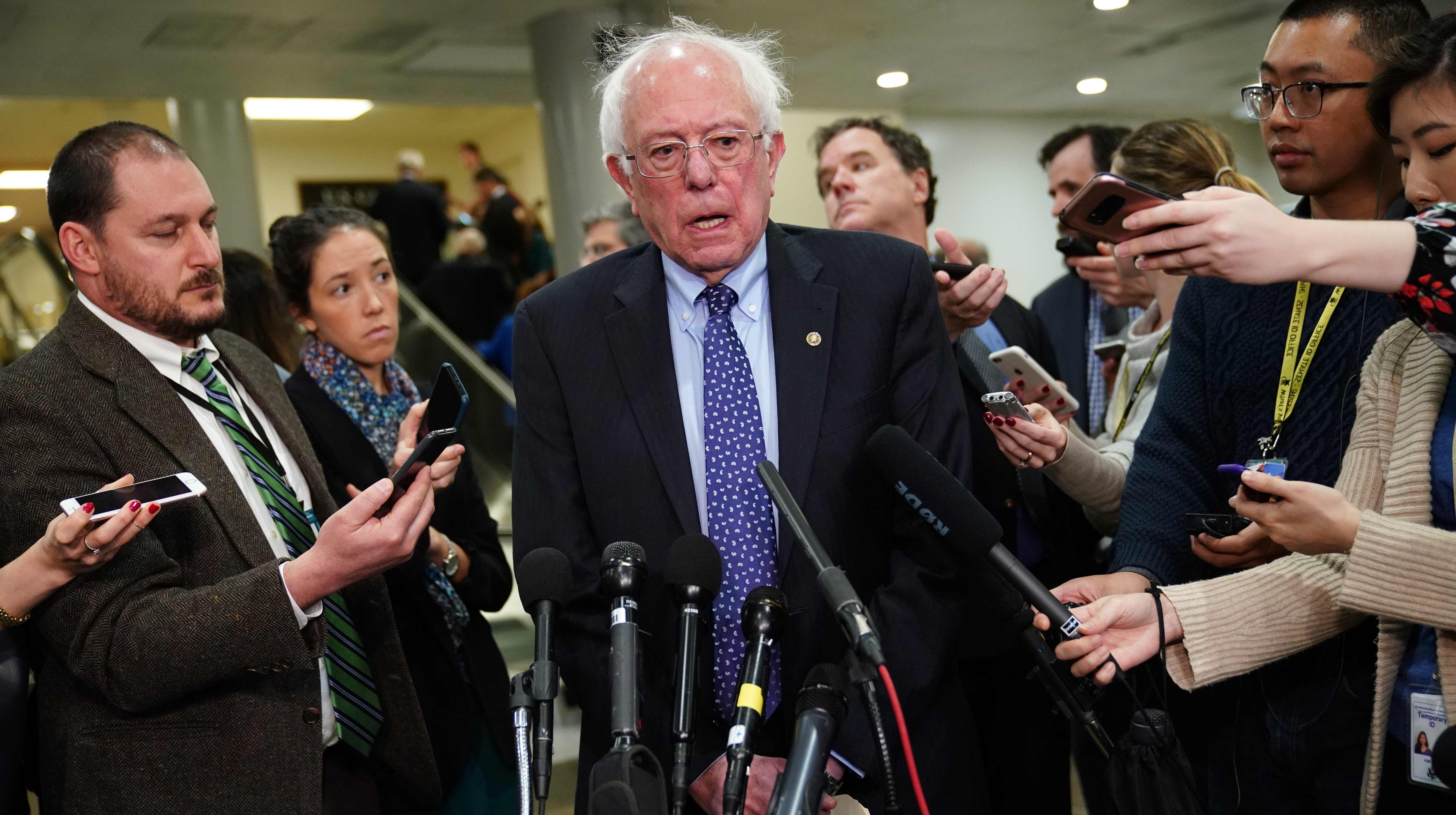 Sen. Bernie Sanders (I-VT) speaks to reporters at the US Capitol on Nov. 28, 2018.