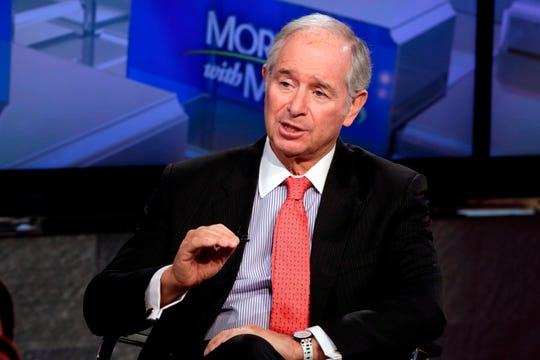 """The Blackstone Group Chairman & CEO Stephen A. Schwarzman is interviewed by Maria Bartiromo during her """"Mornings with Maria Bartiromo"""" program, on the Fox Business Network, in New York Friday, April 27, 2018. (AP Photo/Richard Drew) ORG XMIT: OTKRD112 [Via MerlinFTP Drop]"""