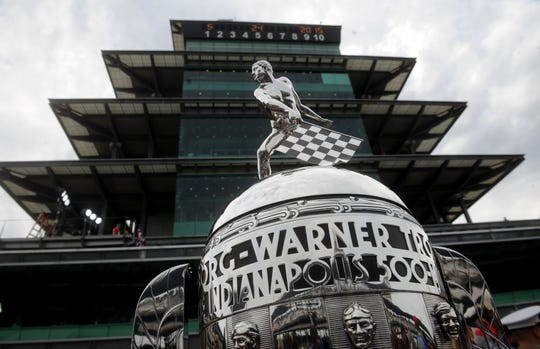 May 24, 2015; Indianapolis, IN, USA; A general view of the pagoda and Borg-Warner Trophy before the 2015 Indianapolis 500 at Indianapolis Motor Speedway. Mandatory Credit: Thomas J. Russo-USA TODAY Sports ORG XMIT: USATSI-225298 [Via MerlinFTP Drop]