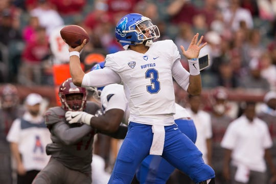 PHILADELPHIA, PA - SEPTEMBER 08: Tyree Jackson #3 of the Buffalo Bulls throws a pass in the second quarter against the Temple Owls at Lincoln Financial Field on September 8, 2018 in Philadelphia, Pennsylvania. (Photo by Mitchell Leff/Getty Images)