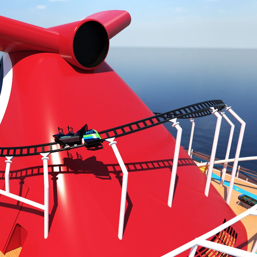 Cruise giant Carnival has announced plans for the first roller coaster at sea. To be called BOLT, it will be atop Carnival Mardi Gras, a new ship scheduled to debut in 2020.