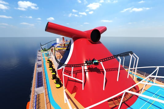 Cruise giant Carnival has announced plans for the first roller coaster at sea. To be called BOLT, it will be atop Carnival Mardi Gras, a new ship scheduled to debut in 2020.(Photo: Carnival Cruise Line)