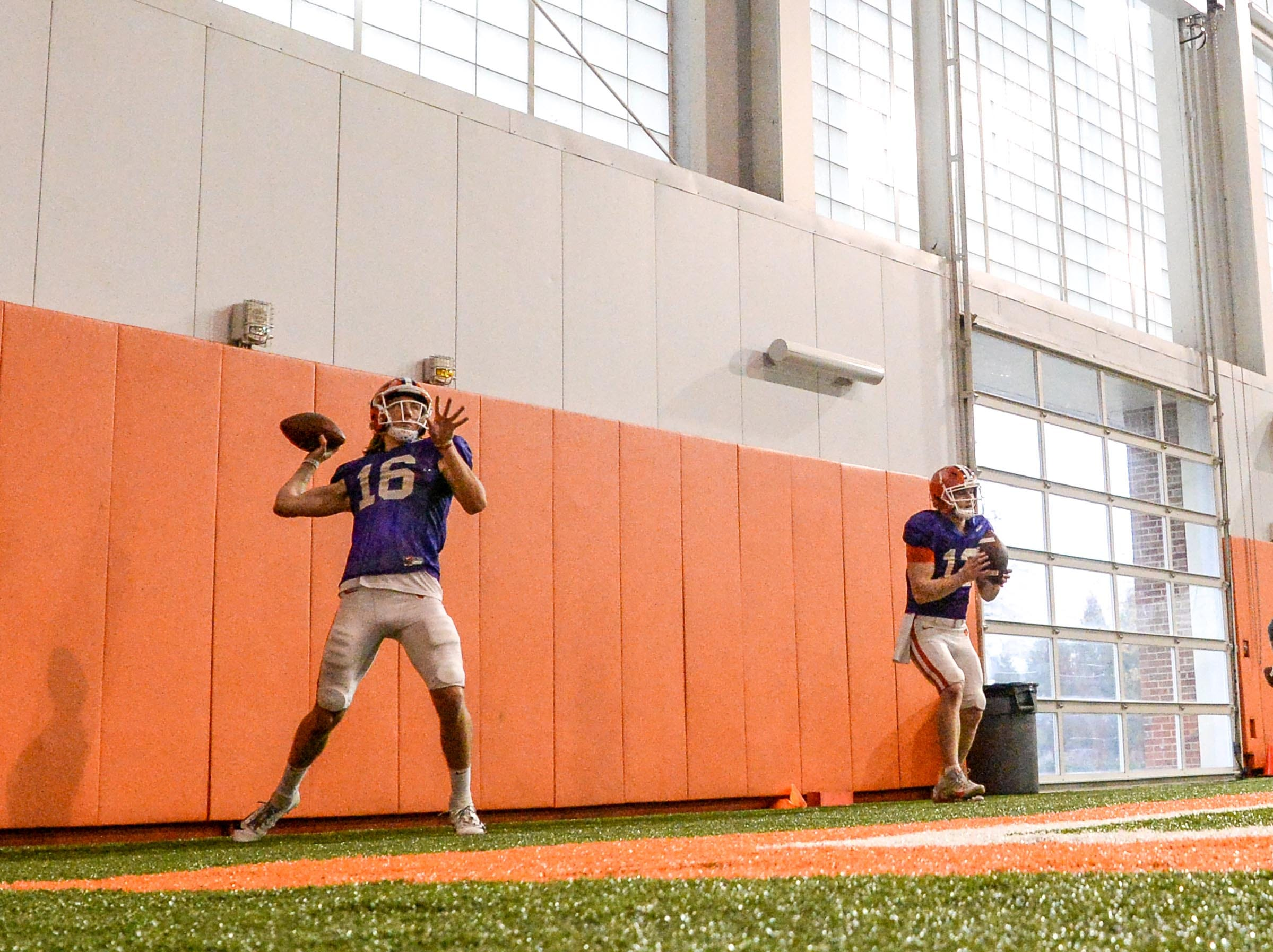 Clemson quarterback Trevor Lawrence (16) throws passes from the wall during practice for the Cotton Bowl at the Poe Indoor Facility in Clemson Friday, December 14, 2018.