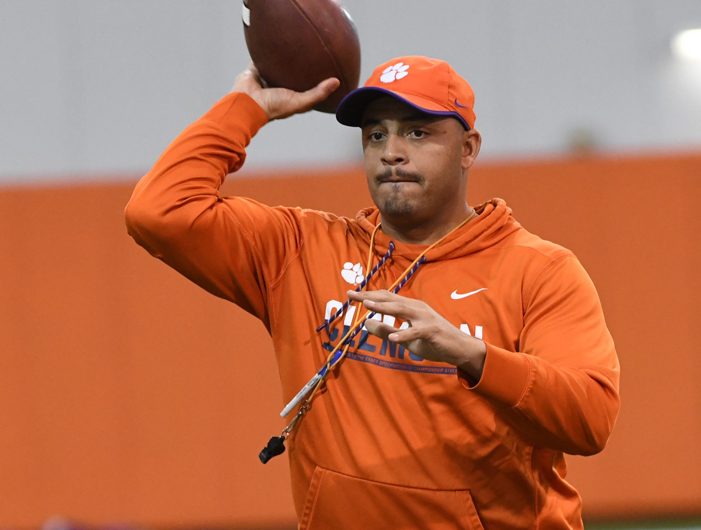 Clemson co-offensive coordinator Tony Elliott during practice for the Cotton Bowl at the Poe Indoor Facility in Clemson Friday, December 14, 2018.