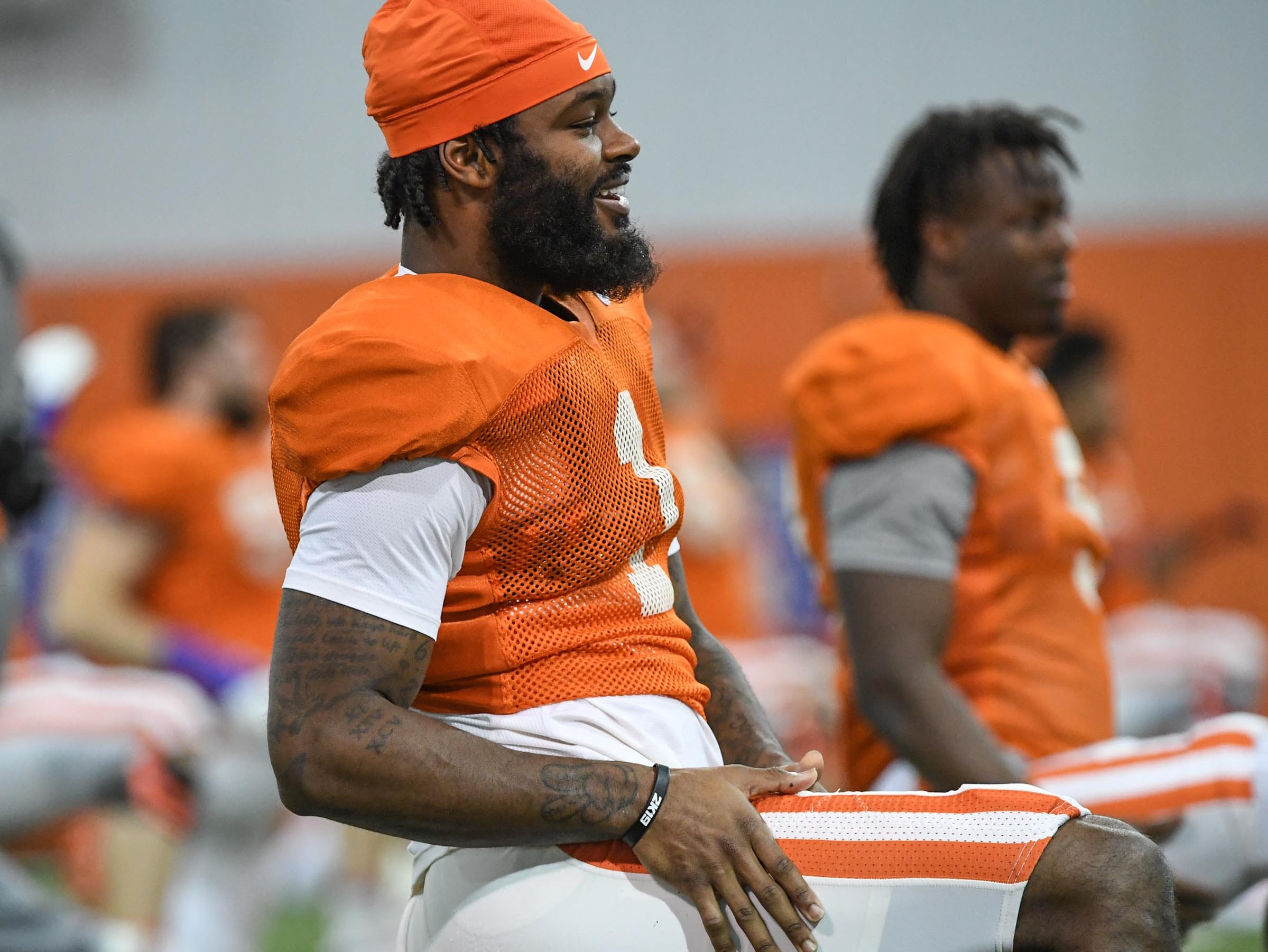 Clemson wide receiver Trevion Thompson (1) stretches during practice for the Cotton Bowl at the Poe Indoor Facility in Clemson Friday, December 14, 2018.