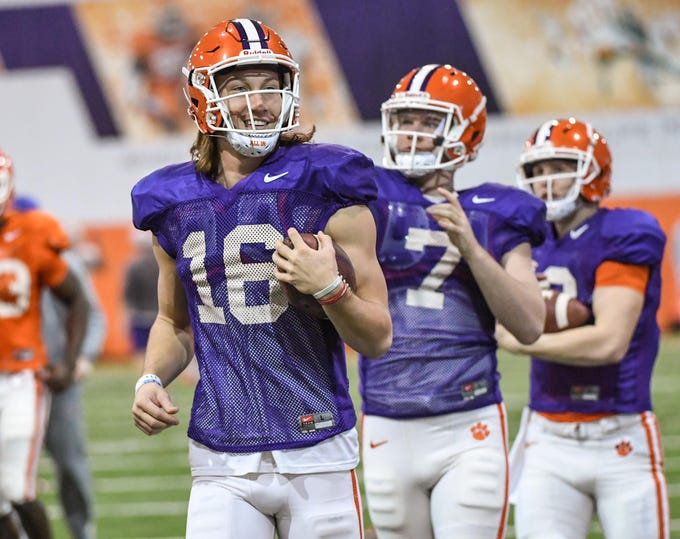 Clemson quarterback Trevor Lawrence (16) during practice for the Cotton Bowl at the Poe Indoor Facility in Clemson Friday, December 14, 2018.