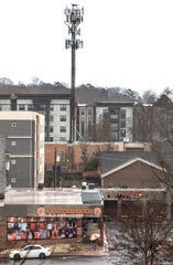 The 114 Earle student housing complex in downtown Clemson, towering above College Avenue businesses, is one of many housing developments that Clemson University students use in Clemson.