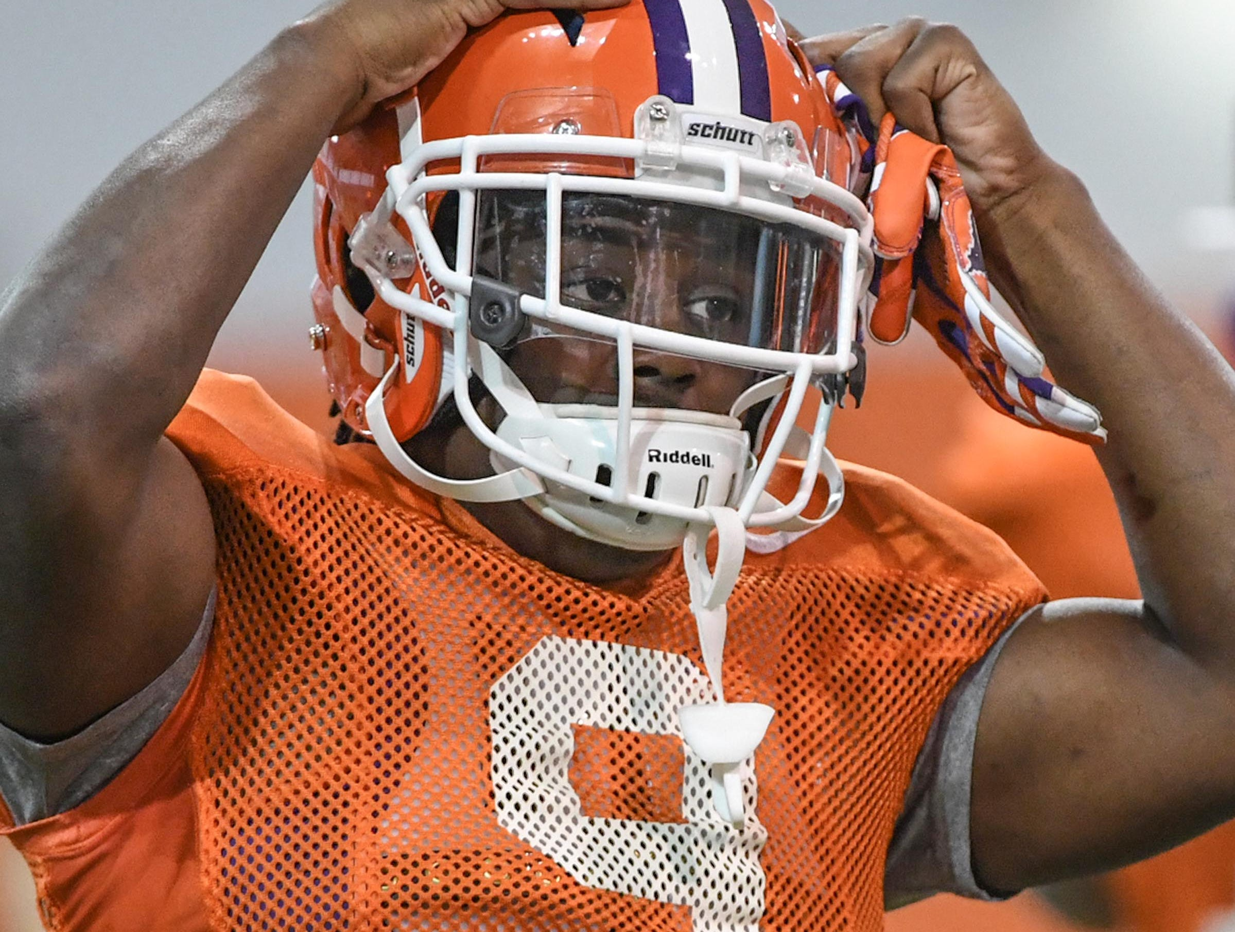 Clemson running back Travis Etienne (9) during practice for the Cotton Bowl at the Poe Indoor Facility in Clemson Friday, December 14, 2018.