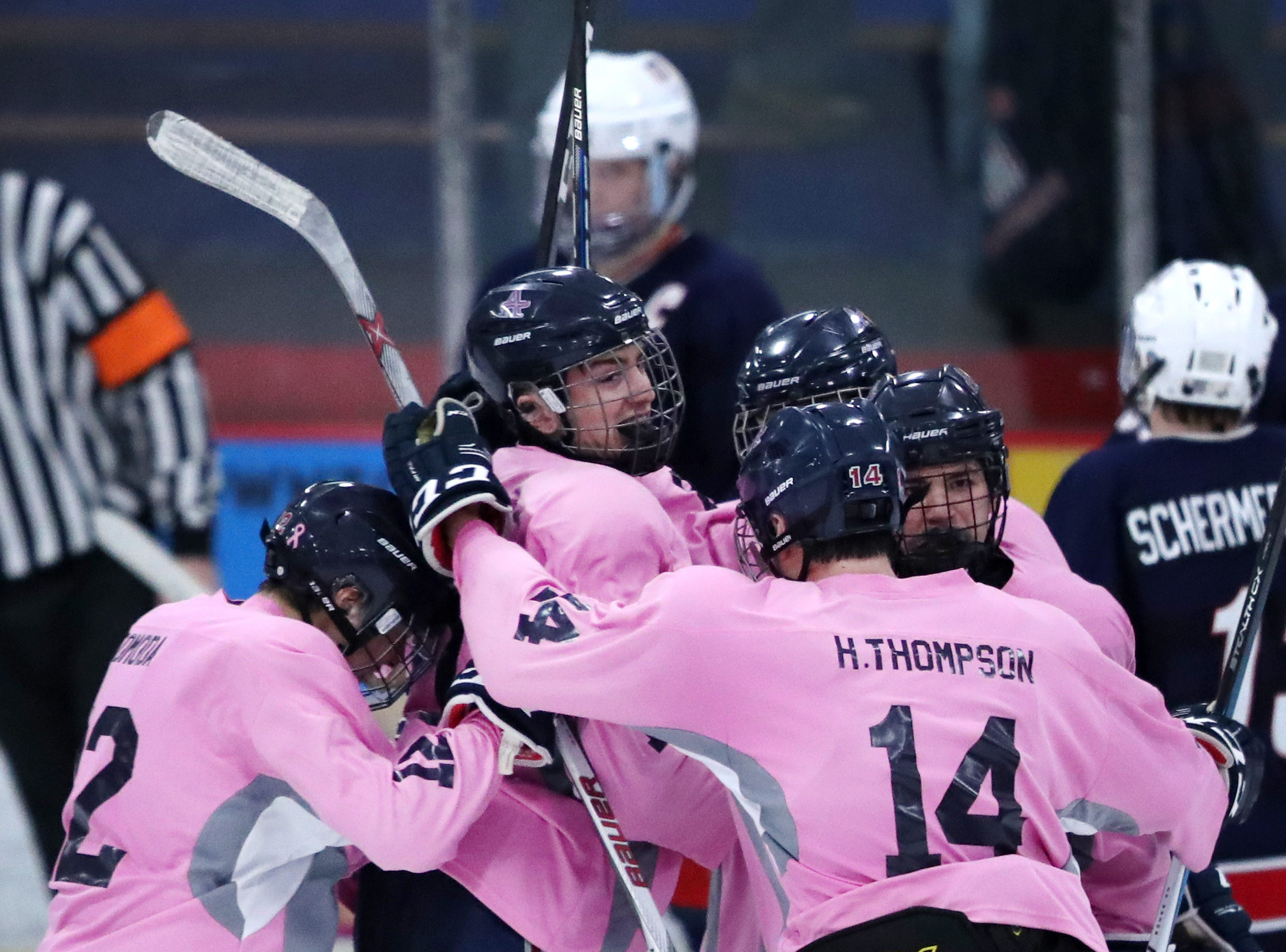 Appleton UnitedÕs Ethan Baker is surrounded by teammates after scoring against the Fox Cities Stars Thursday, Dec. 13, 2018, in Appleton, Wis.Danny Damiani/USA TODAY NETWORK-Wisconsin