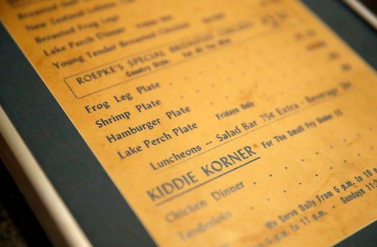 A menu for Roepke's Village Inn from 1969.