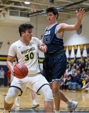 Christian Brothers Academy vs Marlboro basketball. Marlboro's Dylan Kaufman drives to the hoop through CBA's Josh Cohen. Marlboro, NJFriday, December 14, 2018