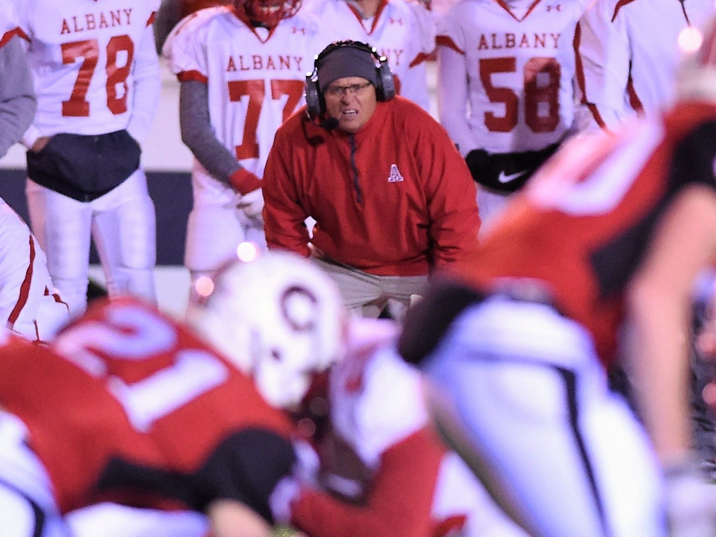 Albany coach Denney Faith watches a play against Gruver in the Class 2A Division II state semifinal at Sherwood Memorial Bulldog Stadium in Plainview on Thursday, Dec. 13, 2018.