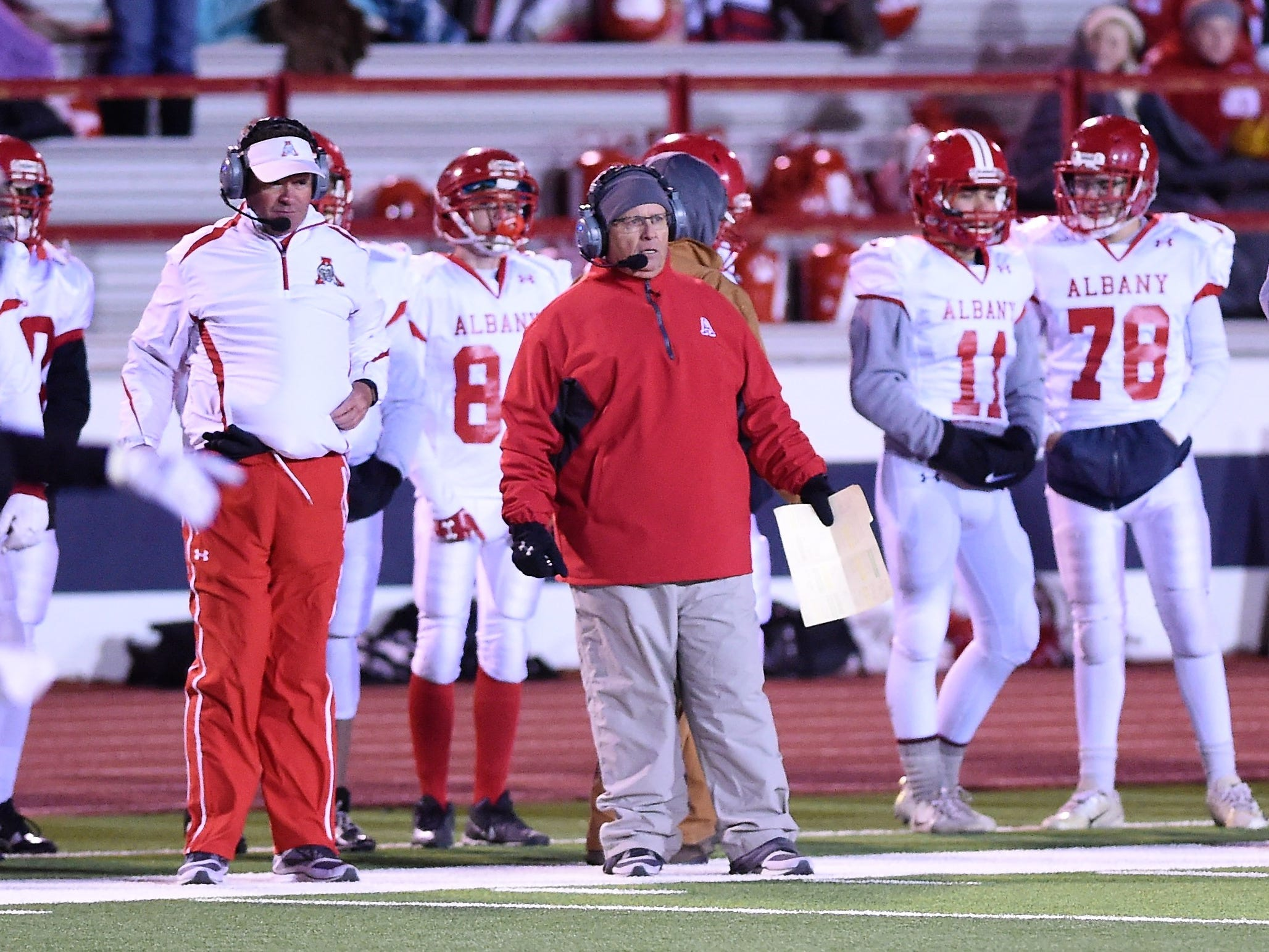 Albany head coach Denney Faith looks on during the Class 2A Division II state semifinal against Gruver at Sherwood Memorial Bulldog Stadium in Plainview on Thursday, Dec. 13, 2018.