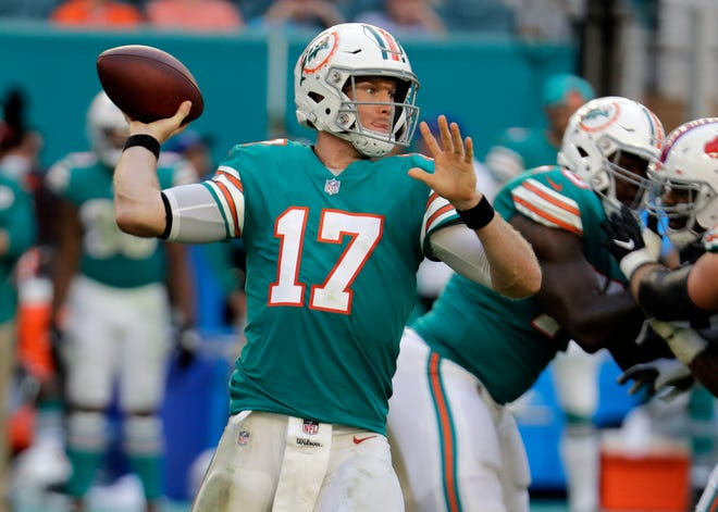 Miami Dolphins quarterback Ryan Tannehill (17) looks to pass during the second half against the Buffalo Bills, Sunday, Dec. 2, 2018, in Miami Gardens, Fla. The Dolphins defeated the Bill 21-17.