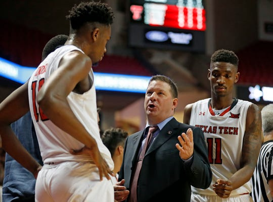 Texas Tech coach Chris Beard talks to Malik Ondigo (10) during the second half against Northwestern State on Dec. 12 in Lubbock. The Red Raiders are host to Abilene Christian on Saturday.