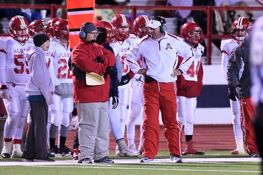 Albany head coach Denney Faith looks on against Gruver in the Class 2A Division II state semifinal at Sherwood Memorial Bulldog Stadium in Plainview on Thursday, Dec. 13, 2018.