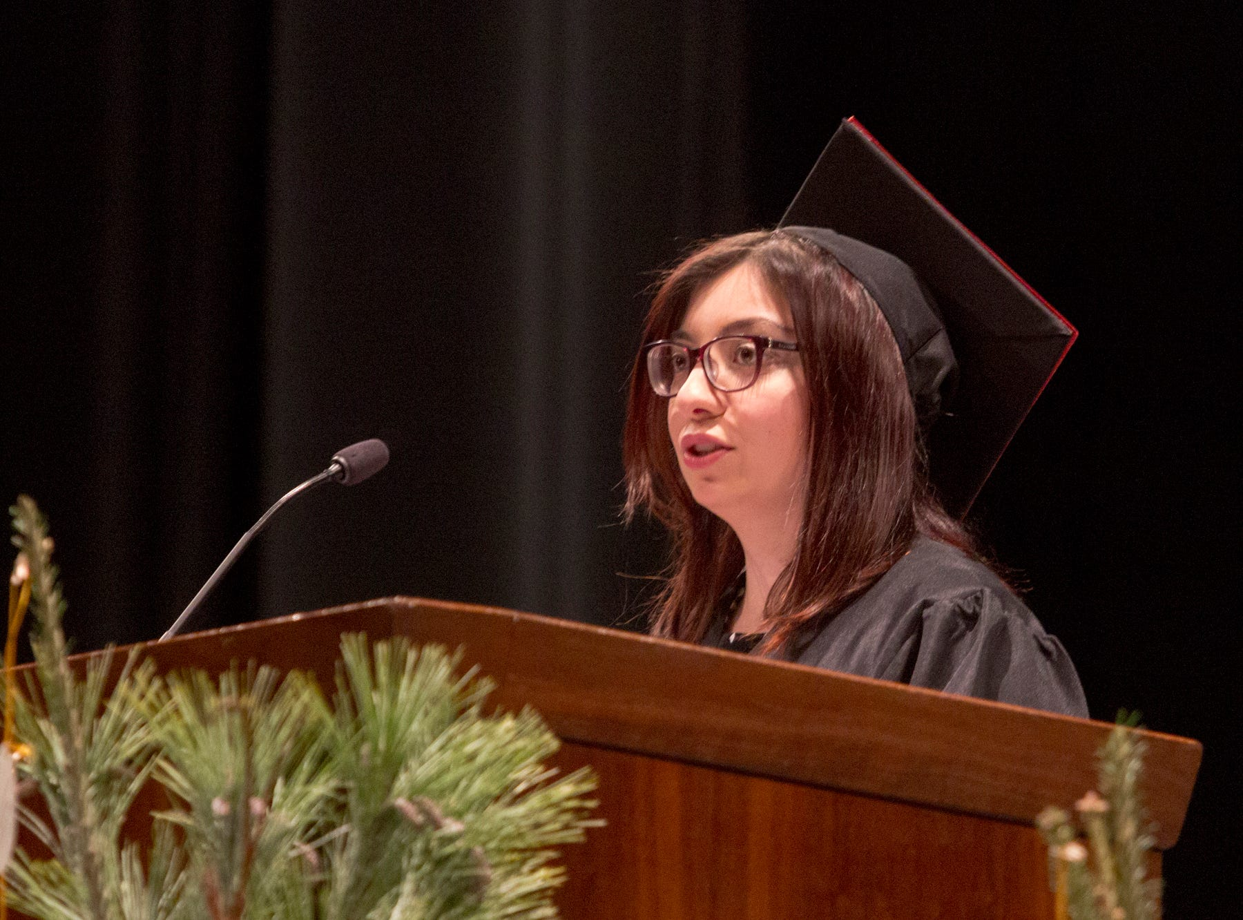 Selin Talay, an education major from Turkey, gives one of two student speeches. Mars Hill University conferred bachelor's degrees on 71 graduates on Dec. 14, 2018.