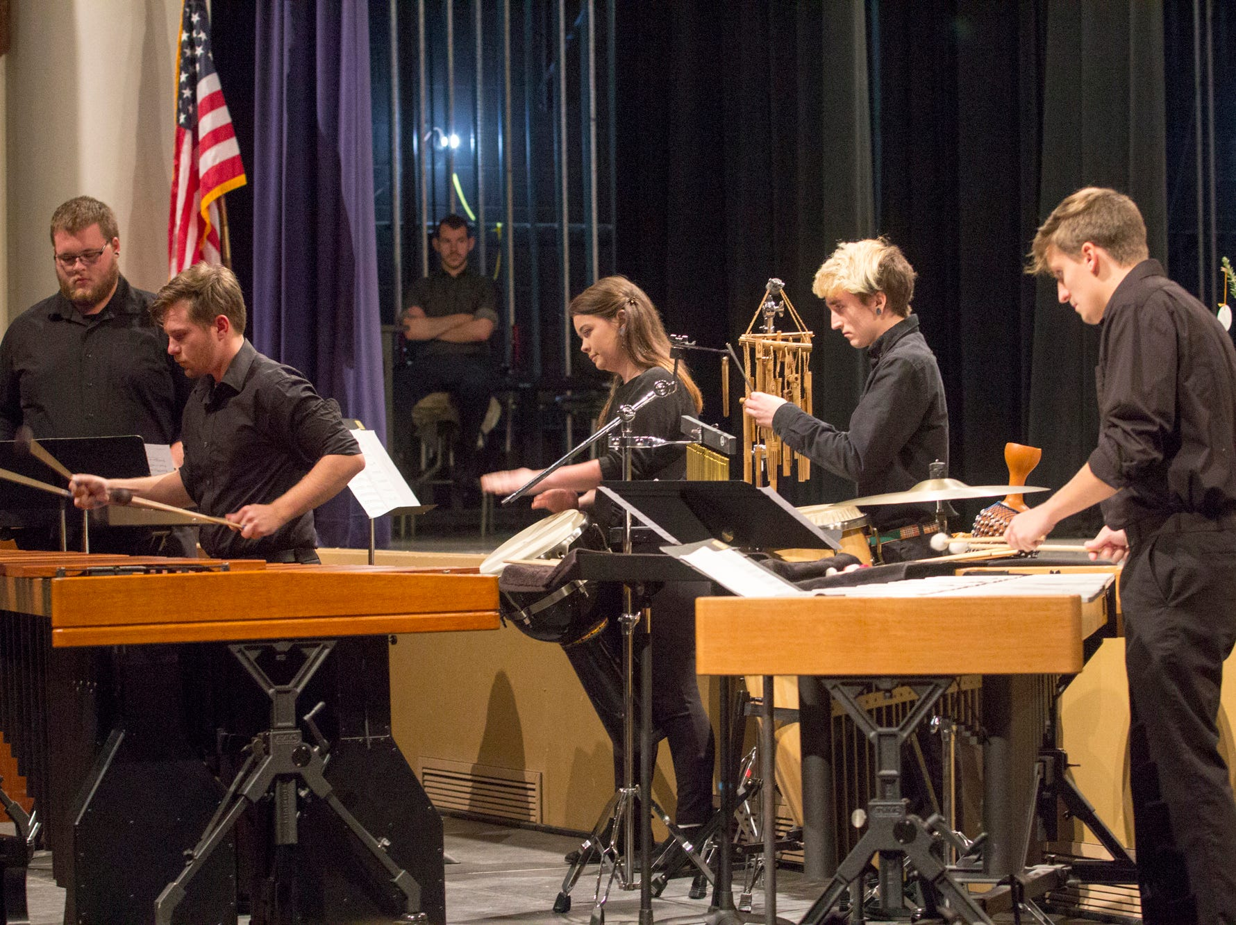 Members of the MHU Percussion Ensemble perform: Jordan McCrary, Luke Rathbone, Jordan Domangue, J.C. Calhoun, and Kendyl Robertson. Mars Hill University conferred bachelor's degrees on 71 graduates on Dec. 14, 2018.