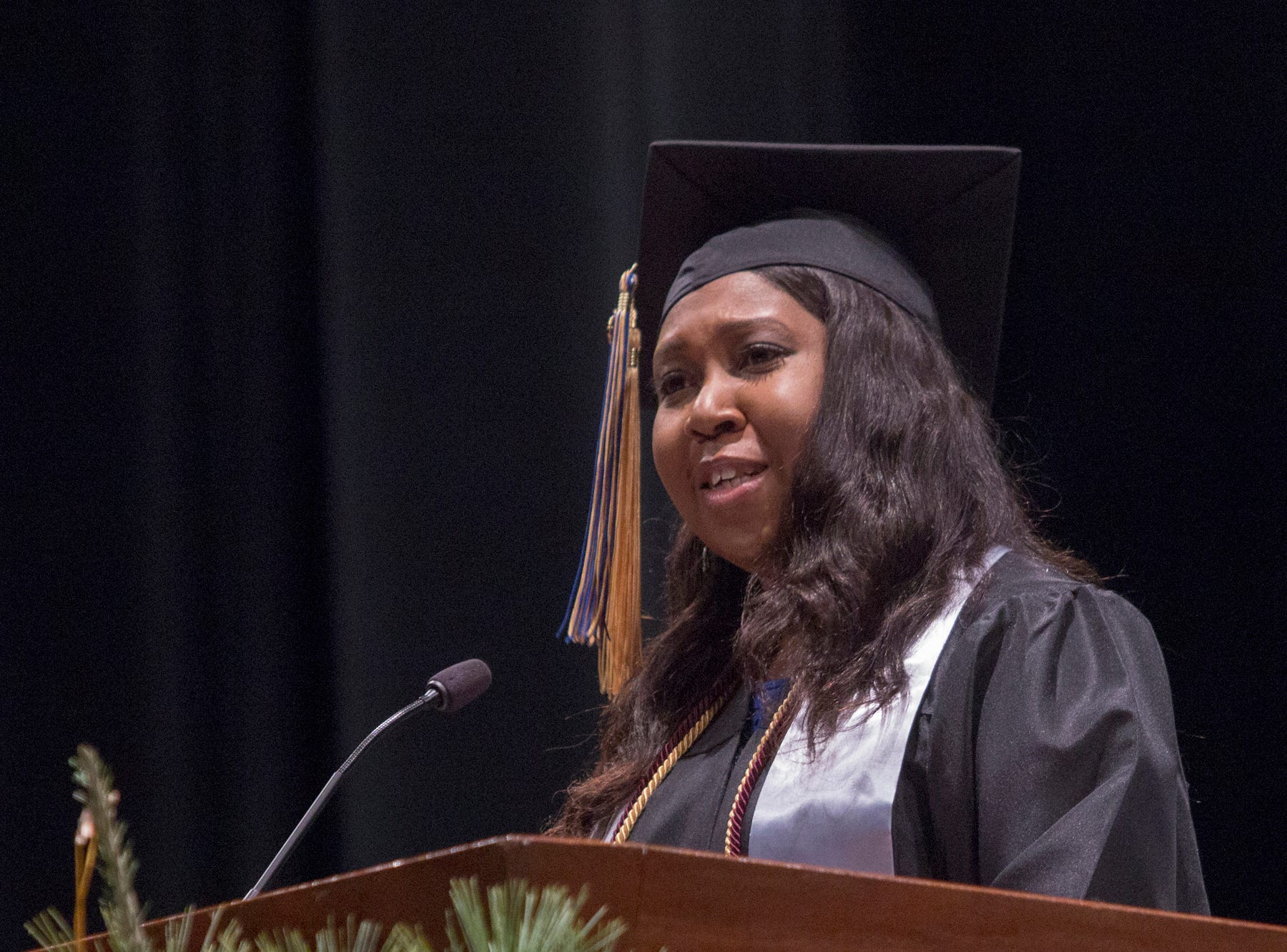 Pam Suber, an adult and graduate studies social work major, gives one of two student speeches. Mars Hill University conferred bachelor's degrees on 71 graduates on Dec. 14, 2018.