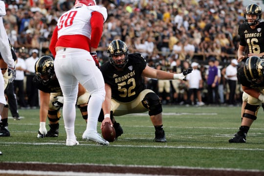 Western Michigan University center John Keenoy prepares to snap the ball against Delaware State at Waldo Stadium in Kalamazoo on Sept. 15, 2018.