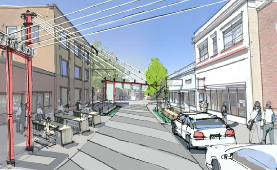 Architectural renderings for a public square on Fourth Street in downtown Bremerton. City leaders hope to name it for Quincy Jones.