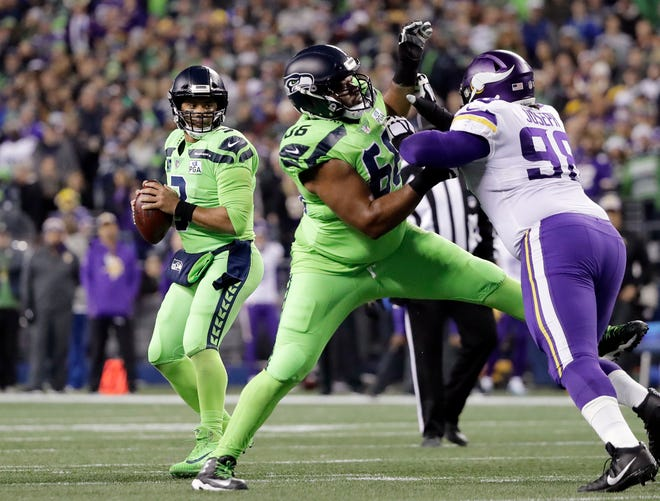 Jordan Simmons (66) has made two starts in place of injured guard D.J. Fluker -- and the Seahawks had their two best rushing games of the season in those starts.