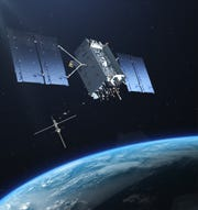 Artist rendering of a GPS III satellite in orbit.