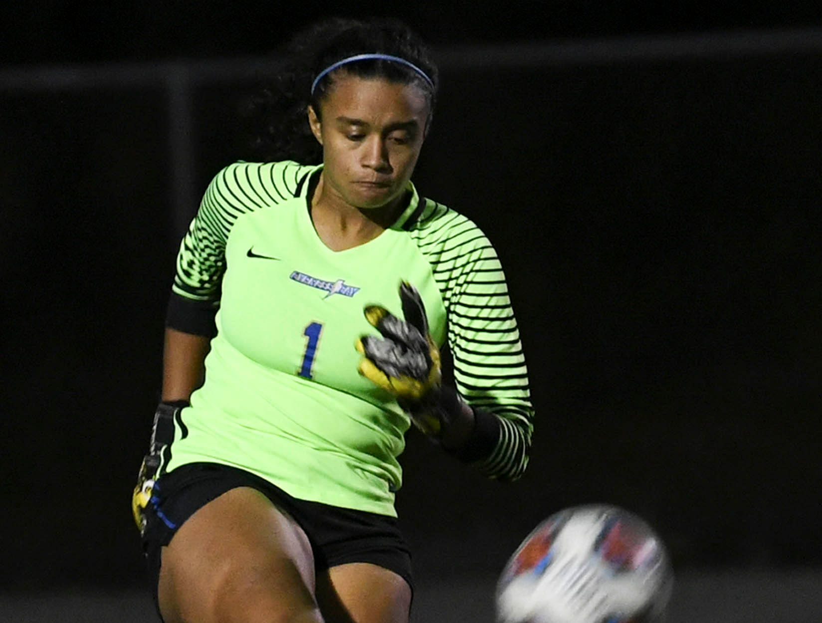Cypress Bay goalkeeper Milan Dewkinandan puts the ball in play during Thursday's game in Melbourne