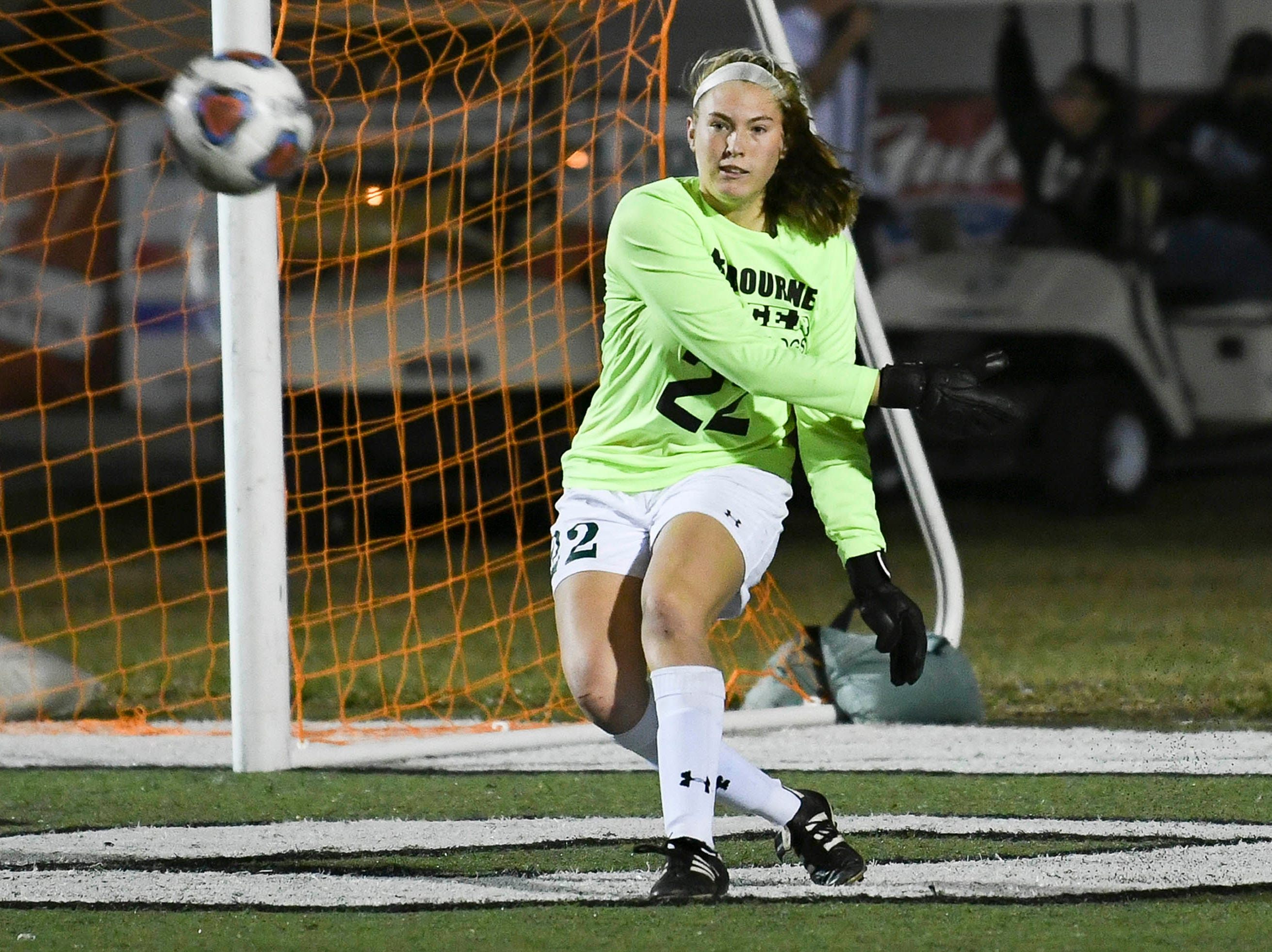 Melbourne goalkeeper Jessica Newton sends the ball into play during Thursday's game against Cypress Bay.