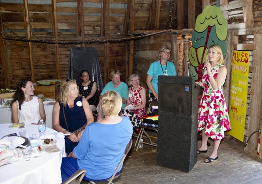Anna Marie Gewirtz, the new executive director of the Flynn Center for Performing Arts, welcomes guests at the Flynn Garden Tour in Charlotte in August.